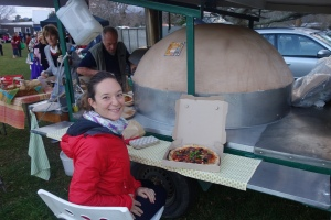Pizza straight from the woodfired oven on a trailer!
