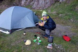 Lars makes breakfast tea at Lake Tarawera, NZ